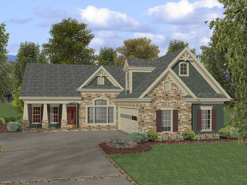 Ranch House Plan Front of Home 013D-0136