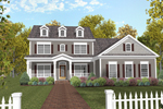Two-Story Country Style Home With Covered Porch And Triple Dormers
