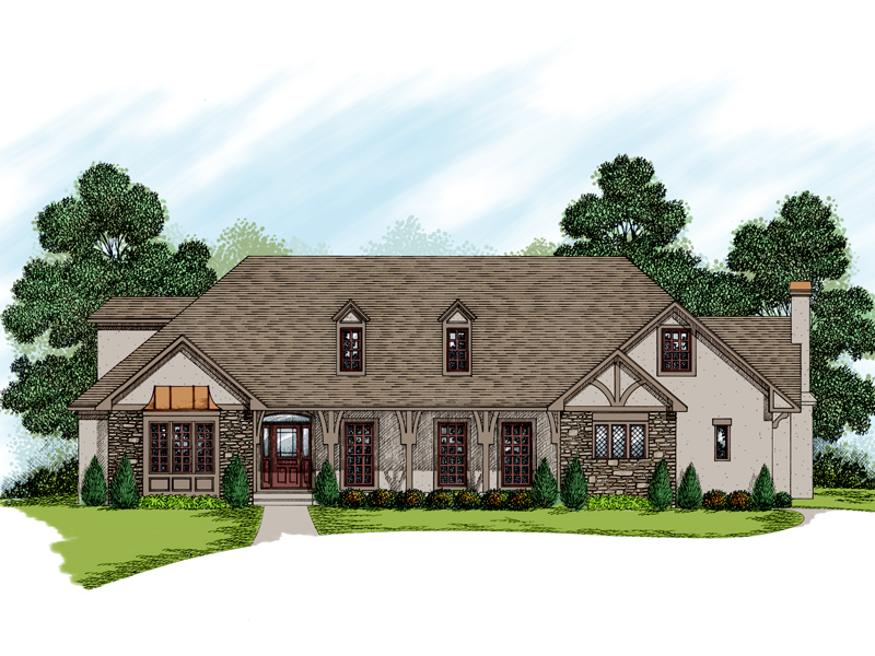 Tudor Style Home Decorated With Brick And Stucco and Trim Details