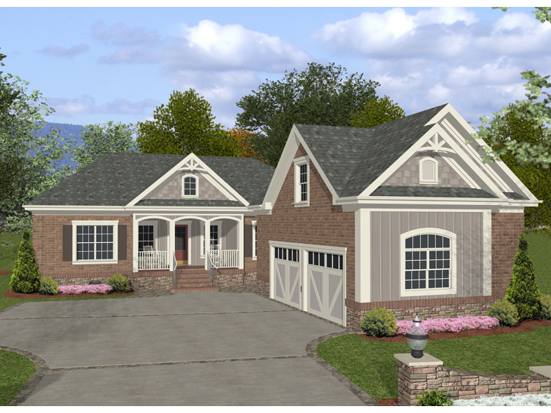 Ranch House Plan Front of Home 013D-0148