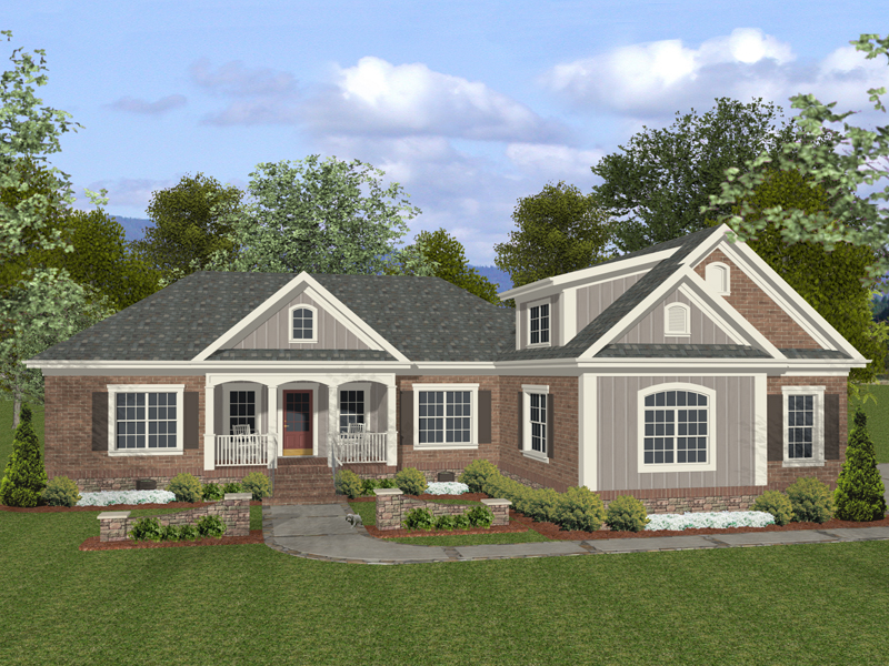 Sand hill craftsman ranch home plan 013d 0151 house for Single story brick house plans