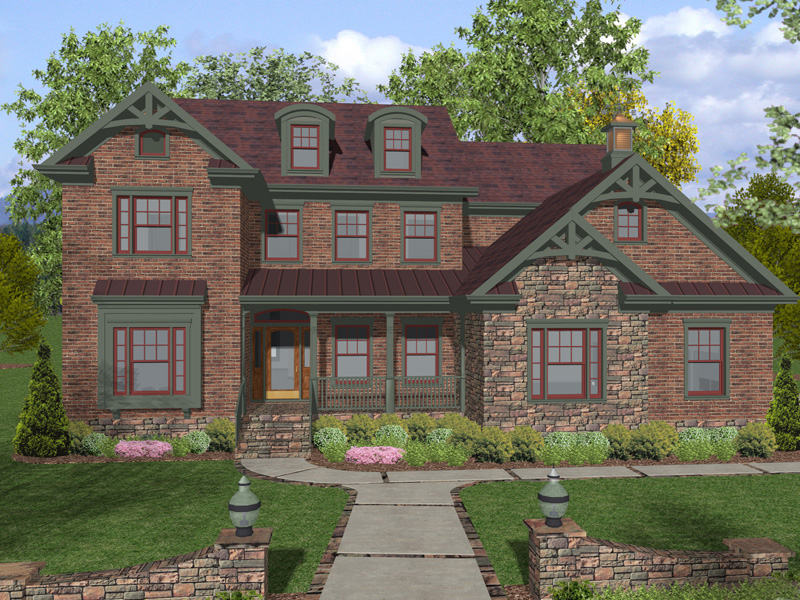 Two-Story Home With Stone Accents And Craftsman Style Trim Details