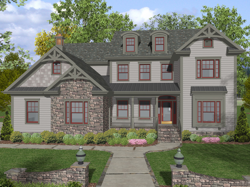 Country Style Craftsman Home With Stone And Shingle Accents