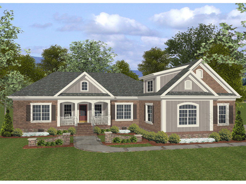 Ranch House Plan Front of Home 013D-0155