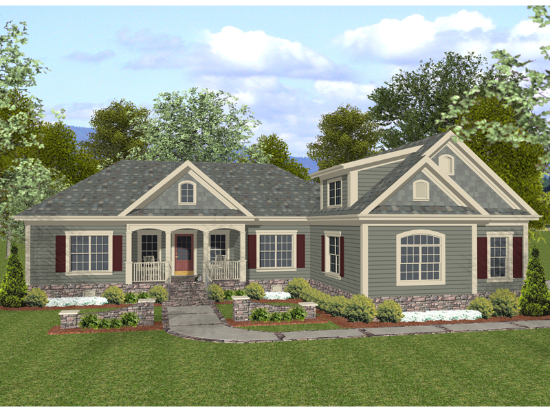 Ranch House Plan Front of Home 013D-0156