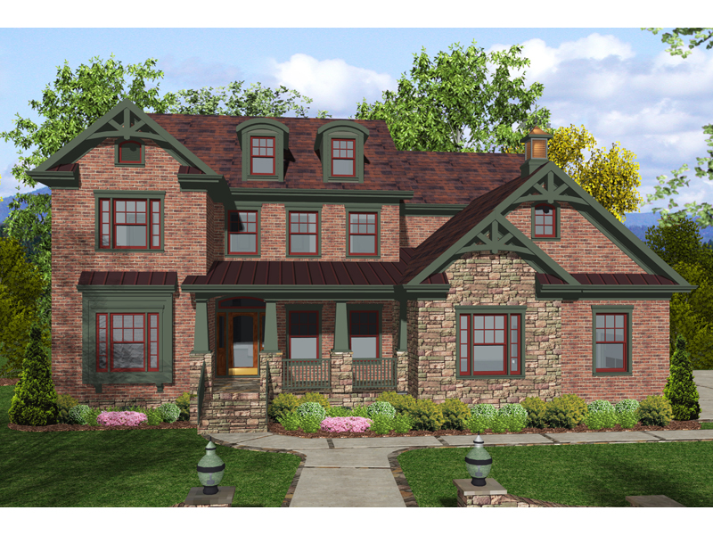 Craftsman Style Home Decorated With Brick And Stucco and Trim Details