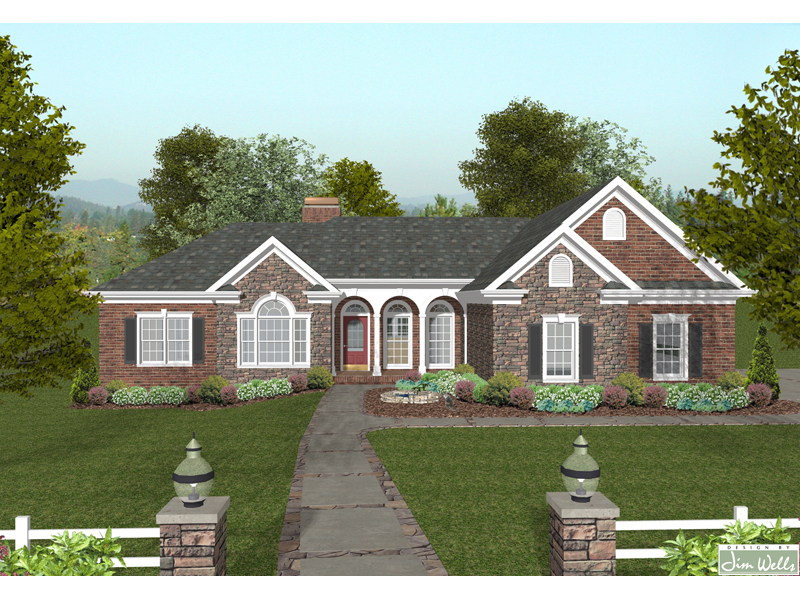 Brick And Stone Ranch Home With Multiple Gables