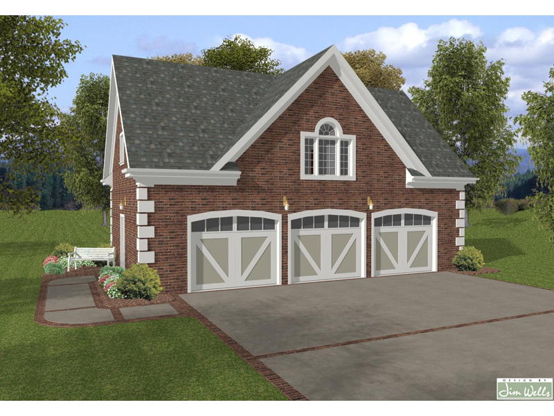Three-Car Garage With Decorative Arched Window, Corner Quoins And Stylish Garage Doors