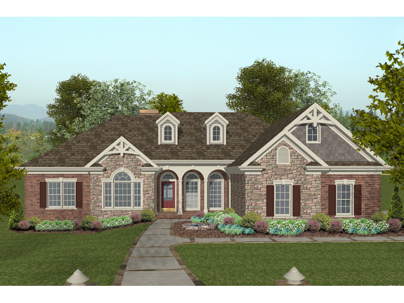 Brick Ranch Home With Multiple Gables And Inviting Front Porch