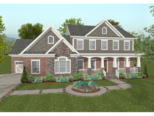 Chancellor craftsman home plan 013d 0173 house plans and for Two story craftsman