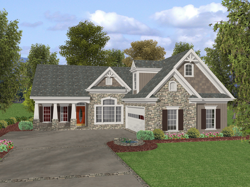 Stylish Craftsman Style  Home Design With Stone Accents And Side Entry Garage