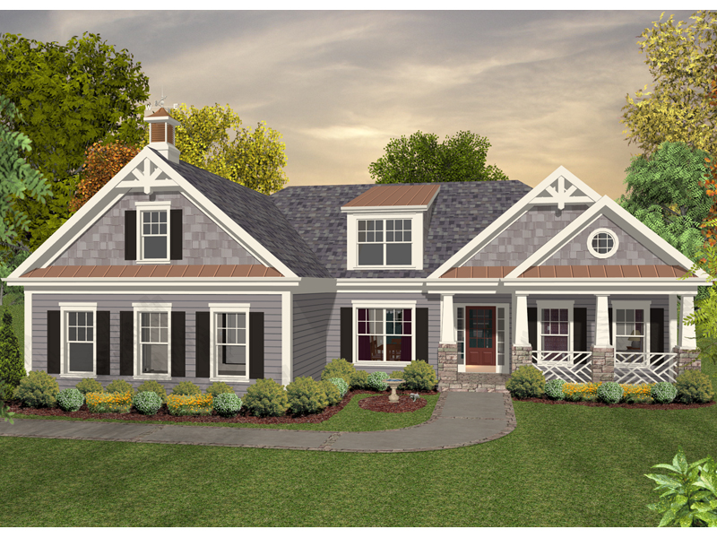 Ranch House Plan Front of Home - 013D-0180 | House Plans and More