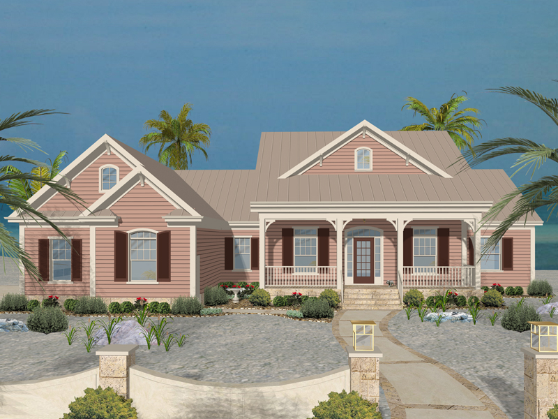 Beach and Coastal House Plan Front of Home 013D-0181