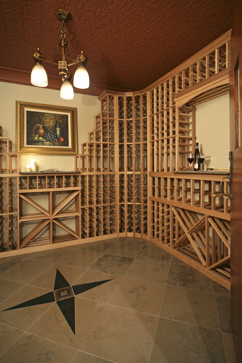 Prairie Style Floor Plan Wine Cellar Photo - 013S-0004 | House Plans and More