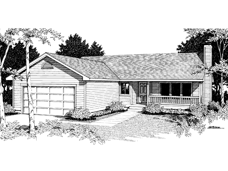 Traditional House Plan Front Image of House 014D-0005