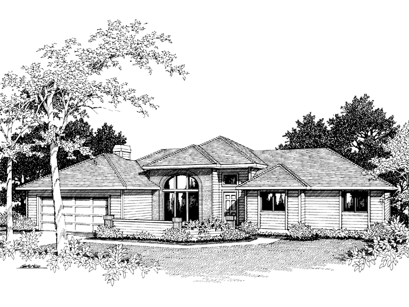 Modern House Plan Front Image of House - 014D-0006 | House Plans and More