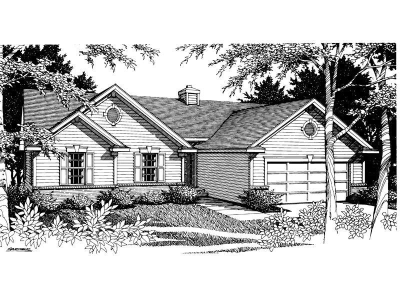 Ranch House Plan Front Image of House - 014D-0007 | House Plans and More