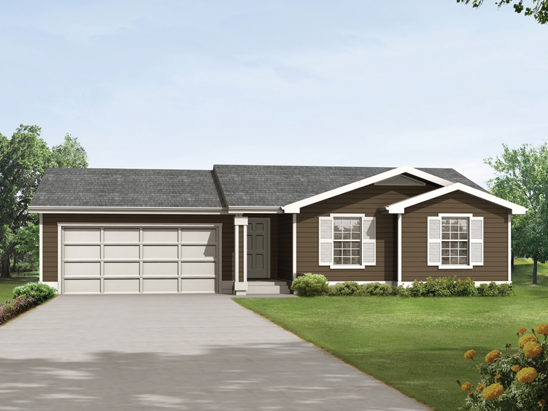 Springpark ranch home plan 014d 0008 house plans and more Low pitch roof house plans