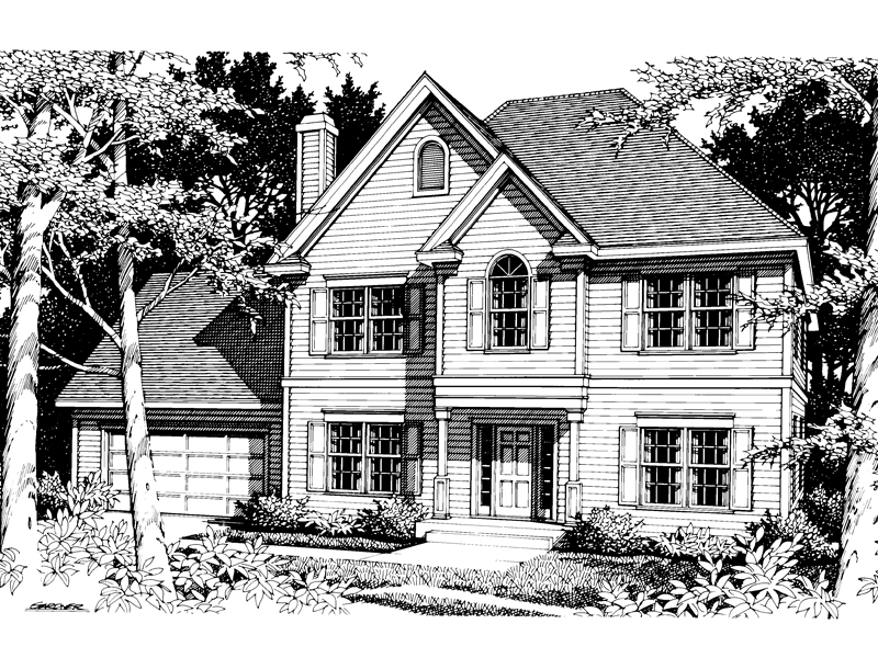 Colonial House Plan Front Image of House - 014D-0011 | House Plans and More