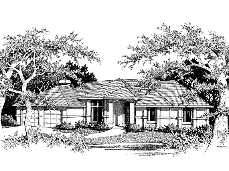 Southwestern House Plan Front Image of House - 014D-0015 | House Plans and More