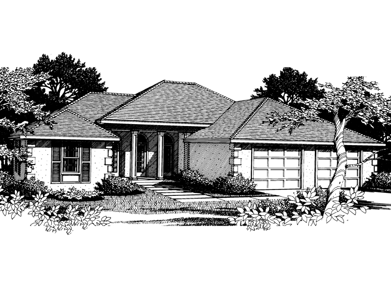 Ranch House Plan Front Image of House - 015D-0008 | House Plans and More