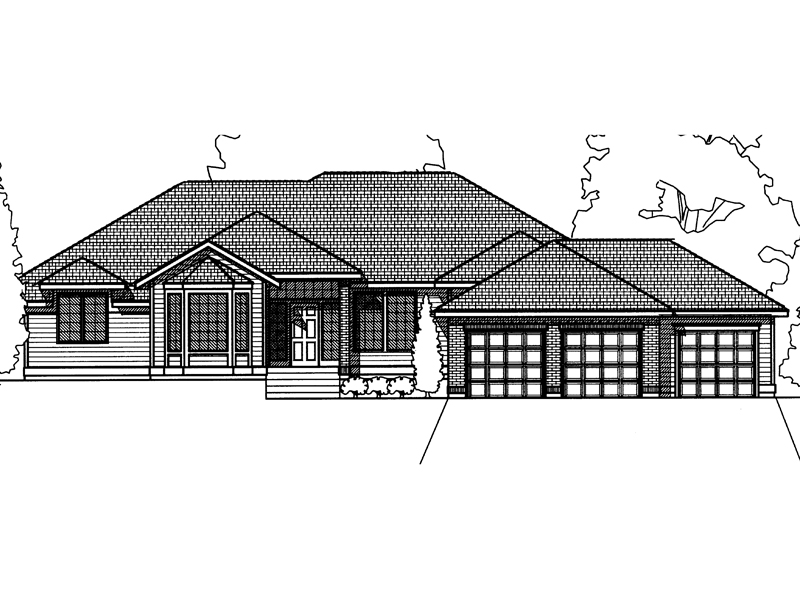 Ranch House Plan Front Image of House - 015D-0016 | House Plans and More