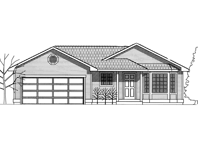 Ranch House Plan Front Image of House - 015D-0019 | House Plans and More