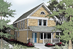 Two-Story Country Home Covered With Cedar Shake Siding on Top