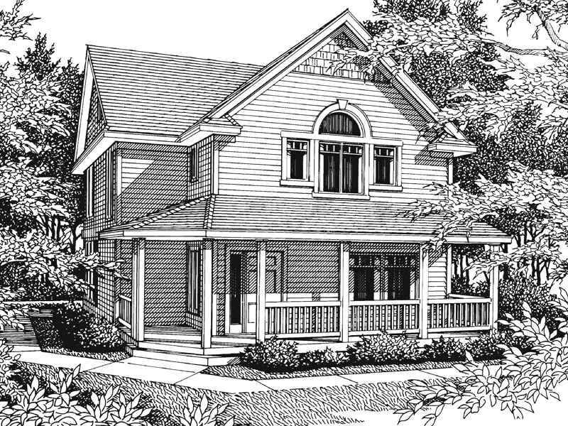 Arts & Crafts House Plan Front Image of House - 015D-0023 | House Plans and More