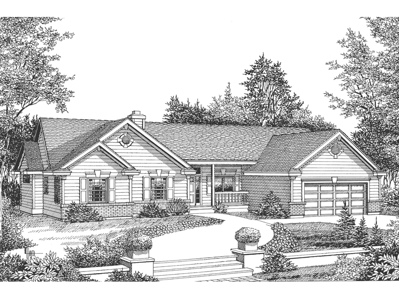 Ranch House Plan Front Image of House - 015D-0030 | House Plans and More