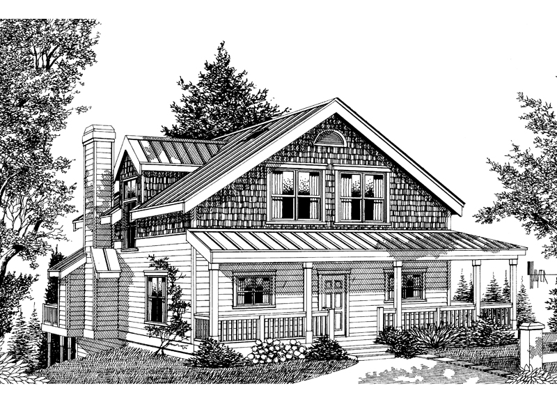 Shingle House Plan Front Image of House - 015D-0037 | House Plans and More