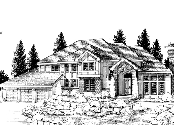 Gildford tudor multi level home plan 015d 0194 house for Multi level house plans