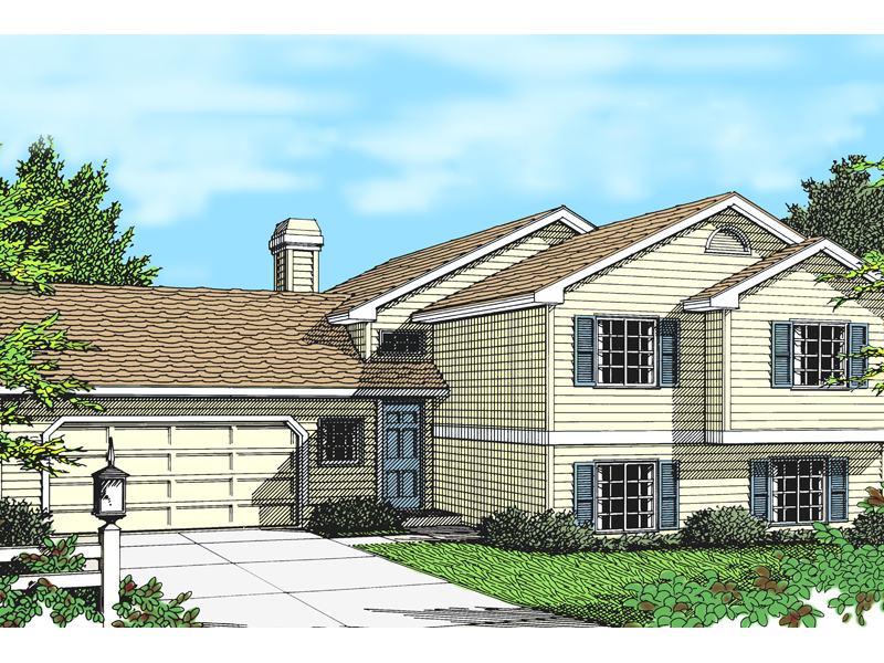 simple multi level home with siding - Multi Level Home Plans