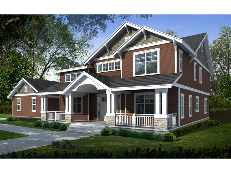 Corvallis craftsman home plan 015d 0209 house plans and more for 5 bedroom craftsman house plans