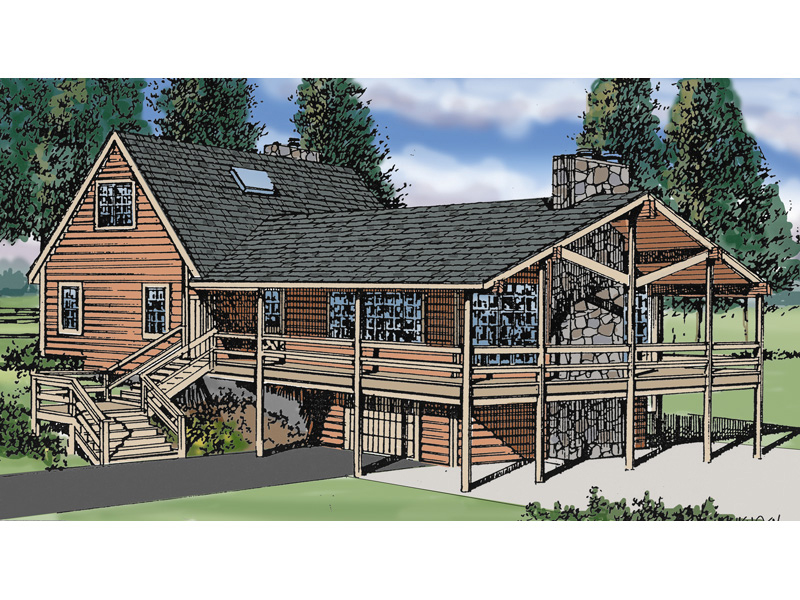 Log Cabin House Plan Front of Home 016D-0031