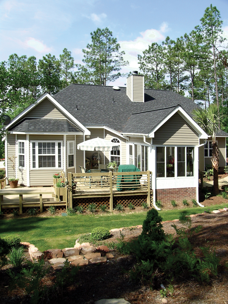 Ranch House Plan Rear Porch Photo 016D-0047