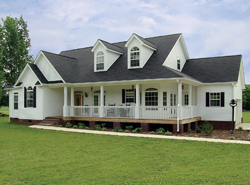 country style ranch home with wrap-around porch