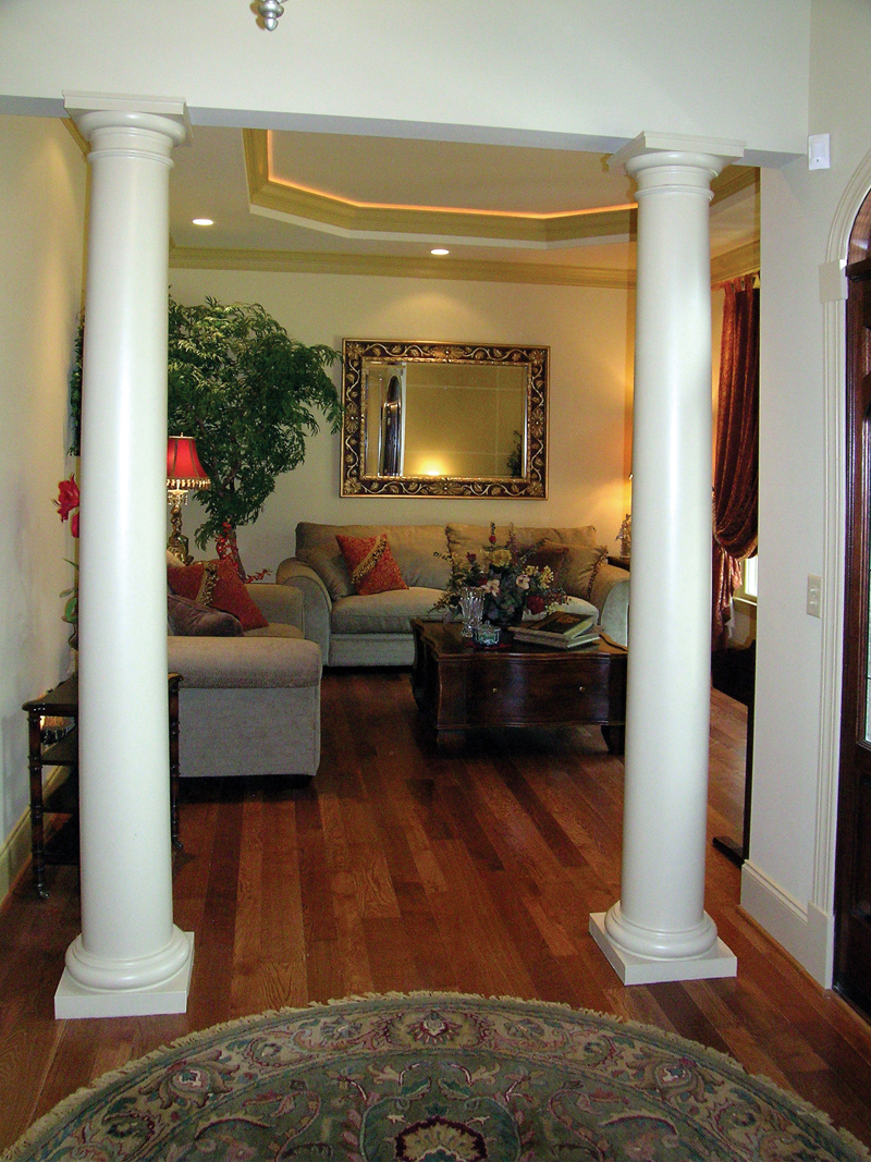 Living Room Designs With Pillars : Traditional house plan living room photo d