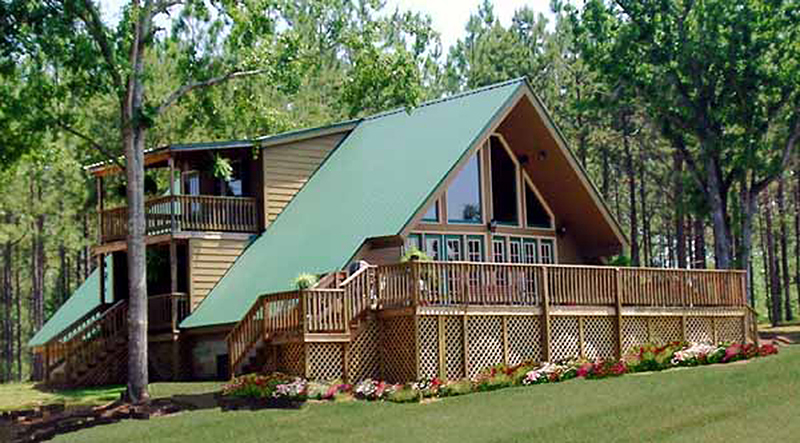 Contemporary A-Frame Design With Stone Exterior