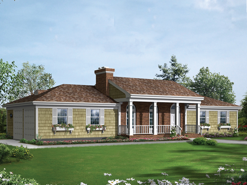 Shingled Ranch With Unique Columned Front