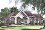 Elegant Arched Porch Mimics Arch Windows Across The Front Of This Home