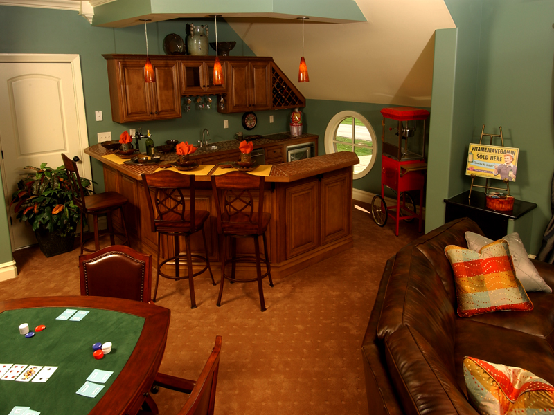 Man Cave Bar Cost : Darby hill european style home plan s house