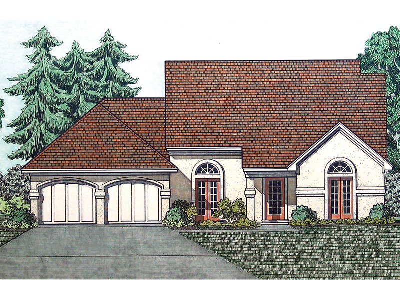 Simple Stucco Ranch Home With Front Loading Garage And Arched Windows