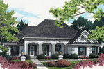 Stucco Ranch Home With Triple Arched Covered Front Porch