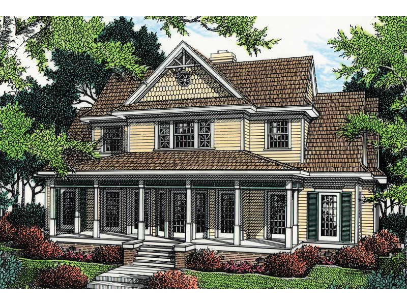 Country-Style Two-Story With Shingle Siding Details And Covered Porch
