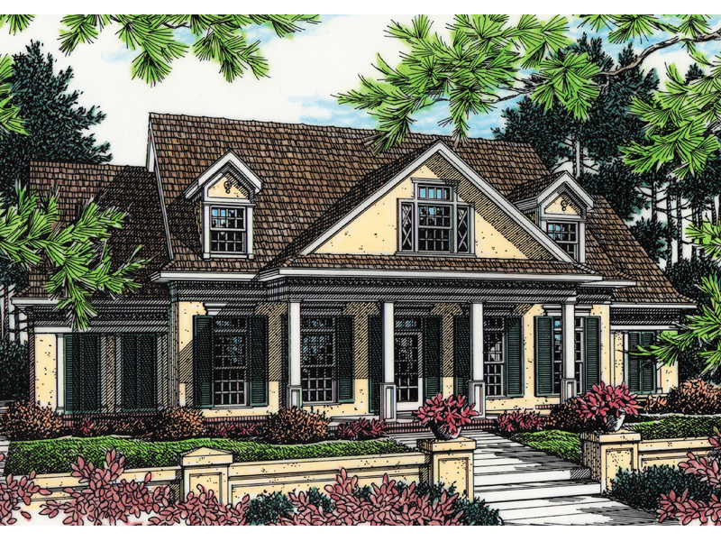 Southern Style Home With Stucco Exterior And Covered Porch