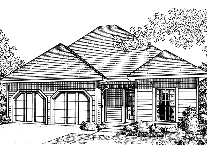 Ranch House Plan Front of Home - 020D-0014 | House Plans and More