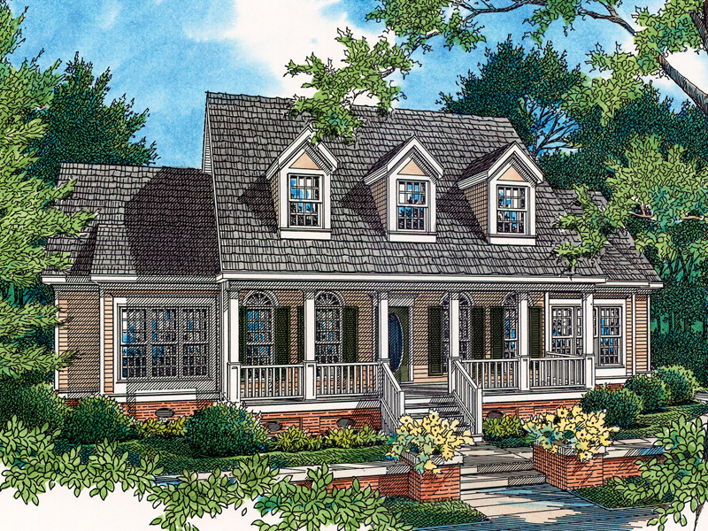 Lovely Country Style Home With Charming Covered Front Porch And A Trio Of Dormers Great Ideas