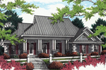 Ranch Home With Covered Porch, Horizontal Siding And Corner Quoins