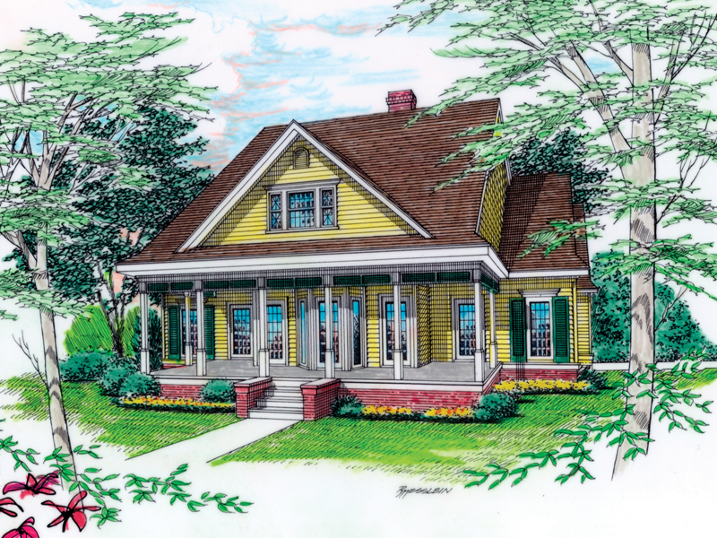 Southern Country Style Home With Inviting Covered Porch